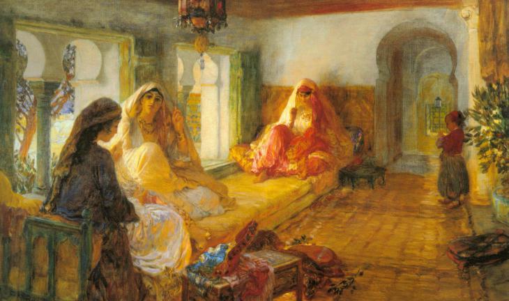 Im Serail: Ölgemälde des Orientmalers Frederick Arthur Bridgman; Quelle: wikipedia
