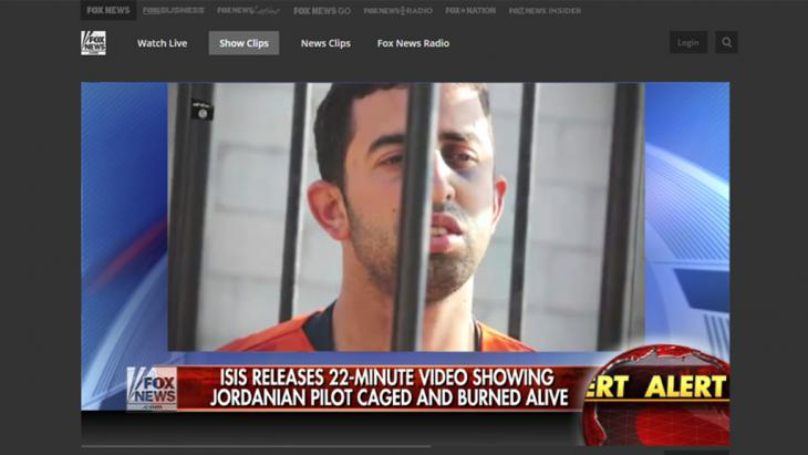 Berichterstattung der US Medien zum Verbrennungsvideo des Piloten Al-Kasaesbeh. Foto: Fox News