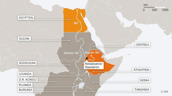Nil-Anrainerstaaten in Afrika; Grafik: DW