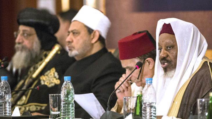 Anti-Terror-Konferenz in Kairo zu Religion und Extremismus mit Ahmed al-Tayyeb (m.); Foto: AFP/Getty Images/K.Desouki