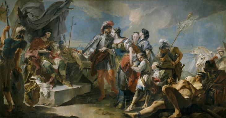 Gemälde von Giandomenico Tiepolos aus dem Jahr 1717: Zenobia vor Aurelian. Foto: picture-alliance