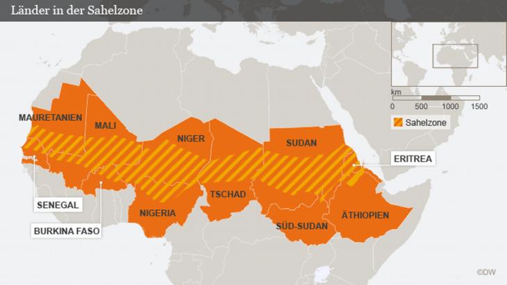 Karte der Sahel-Zone; Quelle: DW