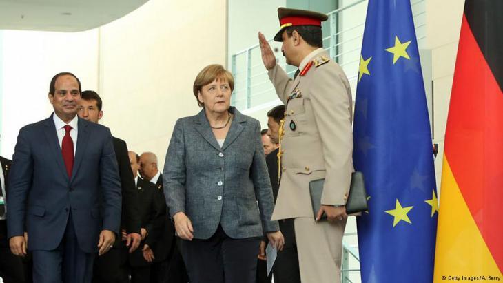 Al-Sisi bei seinem Staatsbesuch in Deutschland, im Bild mit Angela Merkel. Foto: Getty Images/A. Berry