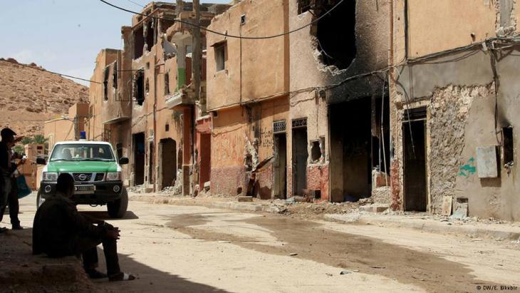 Verbranntes Haus in der Stadt Ghardaia, August 2014. Foto: DW/E. Elkebir