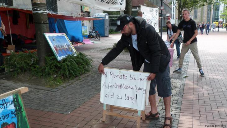 Protestcamp der Flüchtlinge. Foto: Janina Semenova