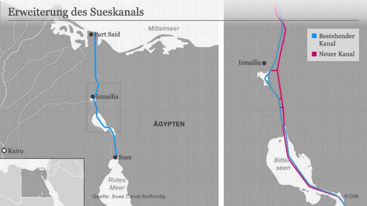 Karte des erweiterten Suezkanlas; Quelle: DW