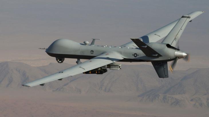 Drohne vom Typ MQ-9 Reaper während einer Kampfhandlung über Afghanistan; Foto: picture-alliance/AP/Air Force/L. Pratt