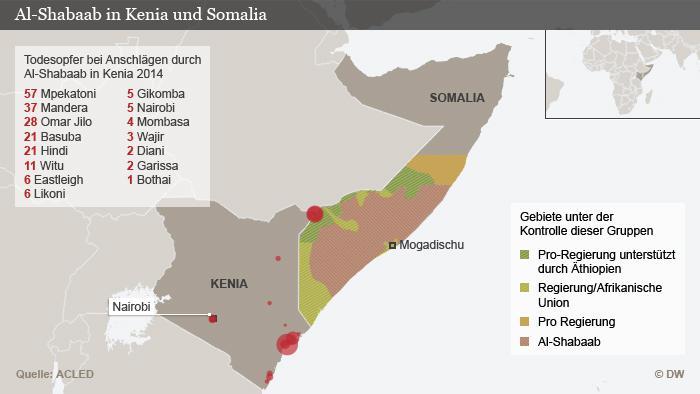Infografik Ausbreitung der Al-Shabaab-Miliz in Ostafrika; Quelle: DW