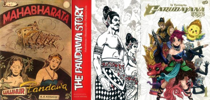 """Von links nach rechts: 1956 Mahabharata von R.A. Kosasih; im Original aus dem Jahr 1984, Teguh Santosas """"The Pandawa Story"""" - neu aufgelegt aus dem Jahr  2013 auf Englisch; die im Manga-Stil gehaltene """"Garudayana Saga"""" von Is Yuniarto (2013)."""