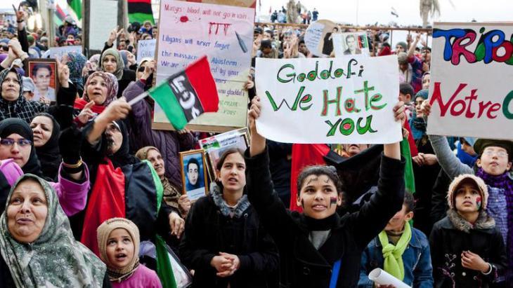 Demonstration in Tripolis; Foto: dpa