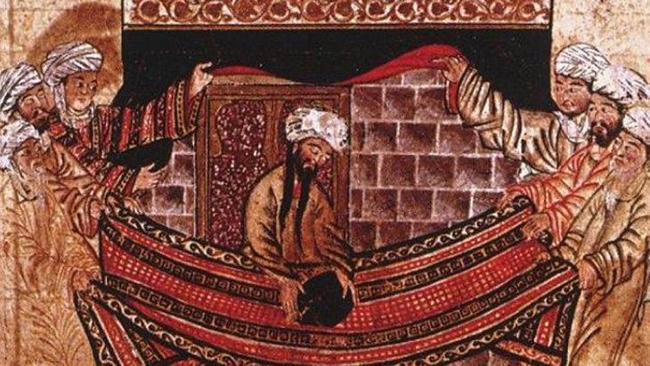 Der Prophet Mohammed legt den schwarzen Stein auf einen Teppich, der von vier Männern (die die vier Stämme repräsentieren) gehalten wird, Foto: public domain