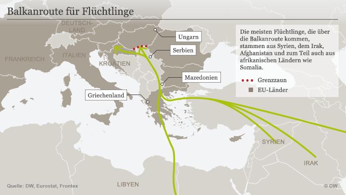 Infografik Flüchtlinge Balkanroute; Quelle: DW-Grafik: Peter Steinmetz