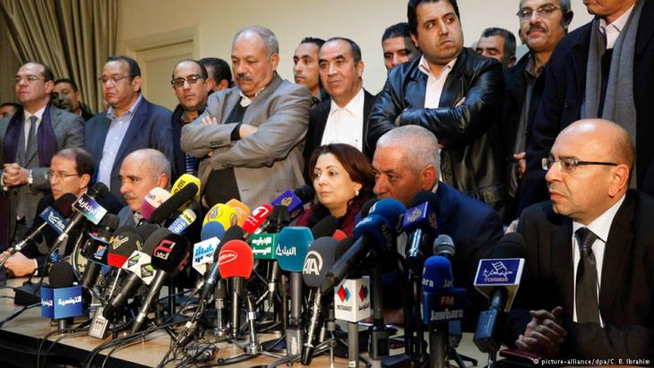 Pressekonferenz des tunesischen Quartetts für den nationalen Dialog im Dezember 2013; Foto: dpa/picture-alliance