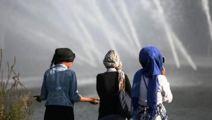 Muslimische Jugendliche in einem park in Hamburg (photo: picture-alliance/dpa/heimken)