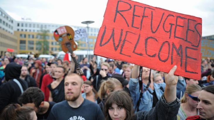 Demonstration für die Aufnahme und den SChutz von Flüchtlingen in Berlin; Foto: picture-alliance/dpa