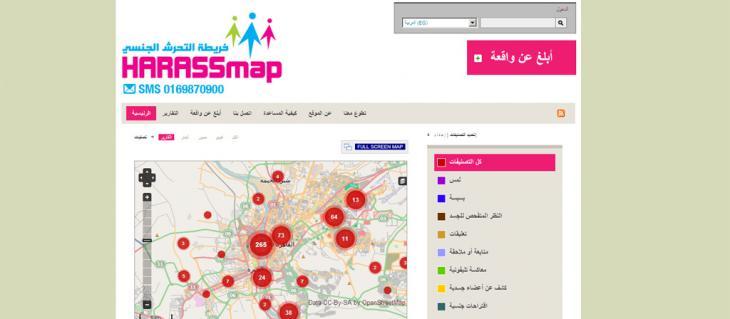 Screenshot der Seite http://harassmap.org/; Quelle: harassmap.org