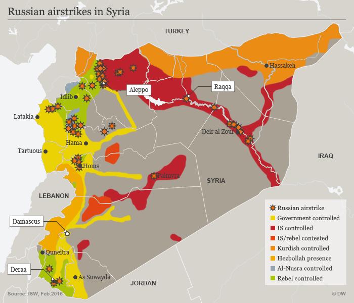 Karte der russischen Luftangriffe in Syrien; Quelle: DW