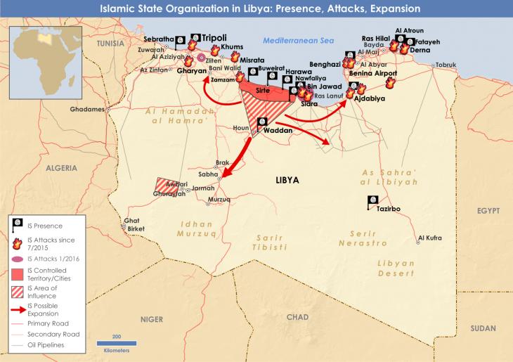 """Ausweitung und militärische Operationen des """"Islamischen Staates"""" in Libyen im Januar 2016; Quelle: privat"""