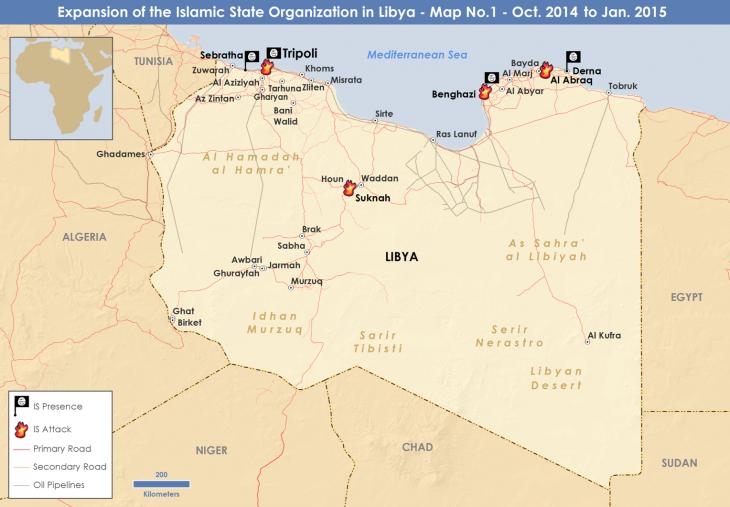 """Militärische Operationen des """"Islamischen Staates"""" in Libyen bis Januar 2015; Quelle: privat"""