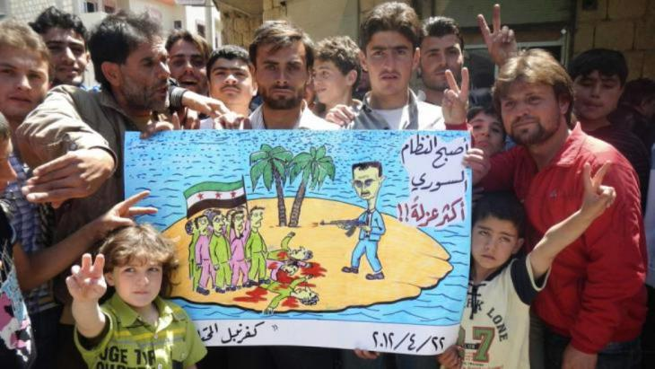 Friedliche Demonstration gegen das Assad-Regime in Kafranbel; Foto: Reuters
