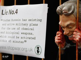 Proteste gegen Tony Blairs Irak-Lügen in London; Foto: AP