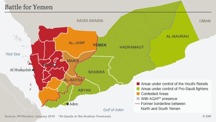 Karte des Jemens zeigt die territoriale Kontrolle des Landes durch die verschiedenen rivalisierenden Gruppen; Quelle: DW