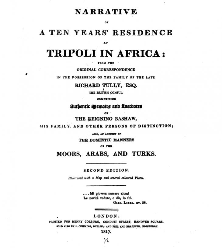 """Zweite Ausgabe """"Erzählung über einen zehnjährigen Aufenthalt in Tripolis, Afrika""""; Quelle: New York Public Library"""