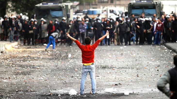 Demonstranten in Kairo; Foto: AP