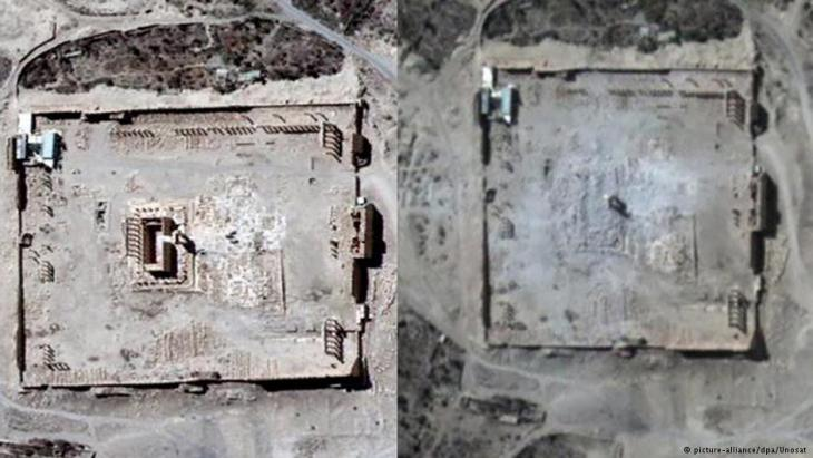 Der Baal-Tempel in Palmyra: vor (links) und nach (rechts) der Zerstörung durch den IS; Foto: picture-alliance/dpa