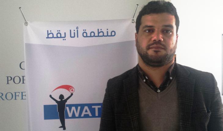 """Mouheb Garoui von der Organisation """"I Watch""""; Foto: Sarah Mersch"""