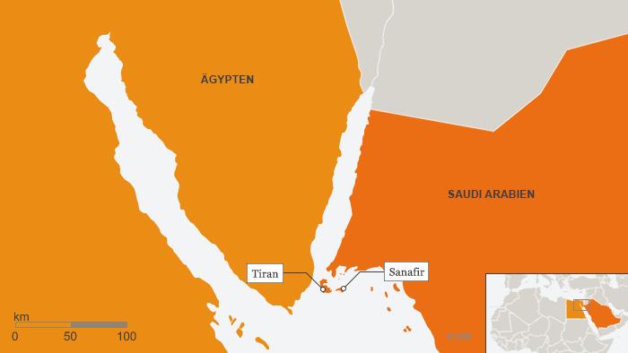 Karte mit den Inseln Tiran und Sanafir im Roten Meer; Quelle: DW