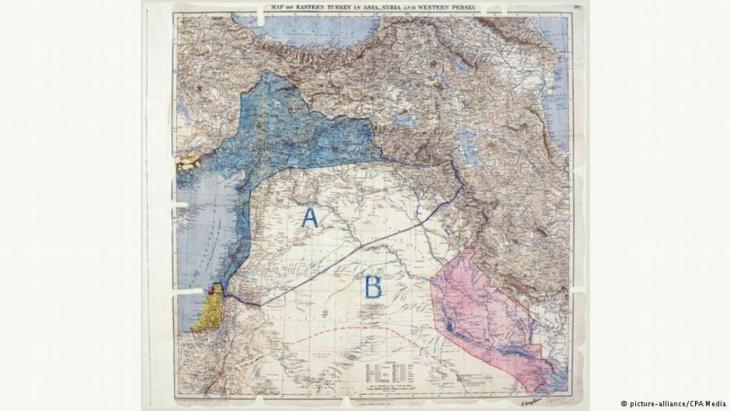 Historische Karte zum Sykes-Picot-Abkommen