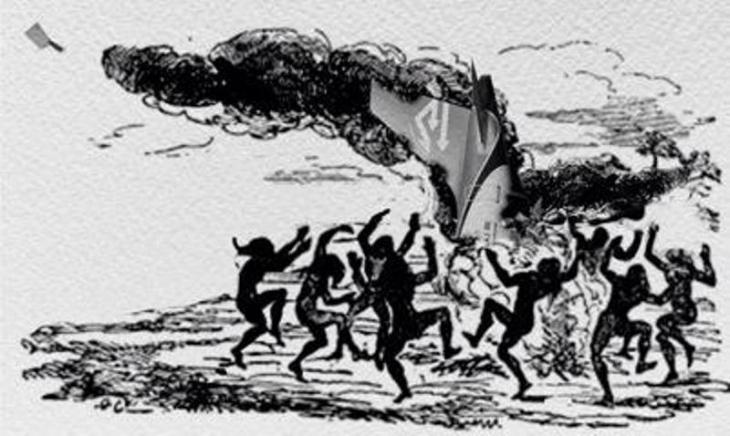 """Alsatoors Zeichnung """"Die Schlacht um den Flughafen Tripolis"""" zwischen befeindeten Milizen im August 2014; Quelle: Alsatoor"""