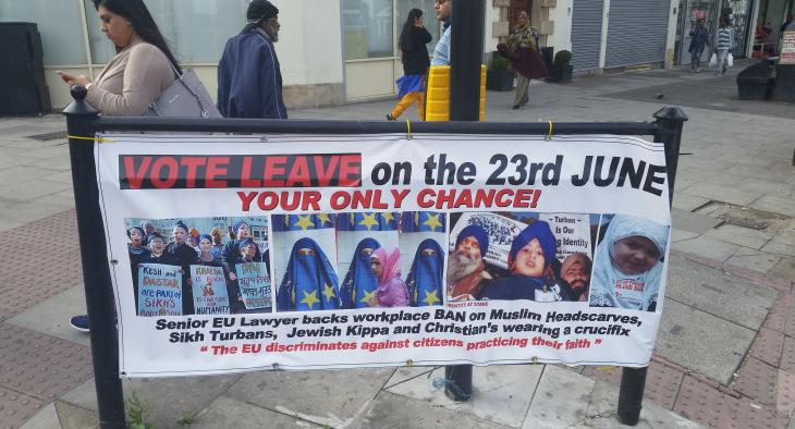 Transparent aus dem Brexit-Wahlkampf in Großbritannien; Foto: Sunny Hundal