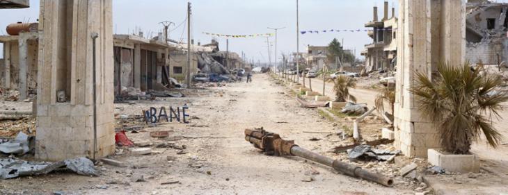 Der Bogen am Ortsausgang von Kobanê in Richtung Aleppo (März 2015), Foto: Kai Wiedenhöfer