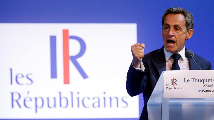 Nicolas Sarkozy während einer Rede in Le Touquet; Foto: Reuters/P. Rossignol
