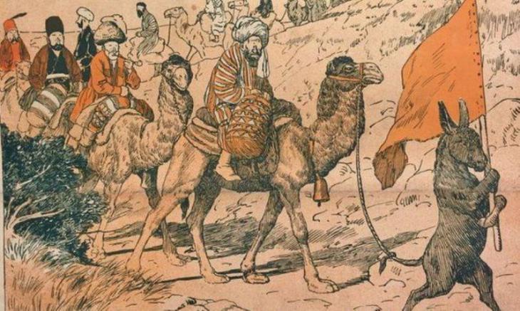 "Karikatur ""Hadsch - Pilgerfahrt nach Mekka""; Quelle: Molla Nasreddin"
