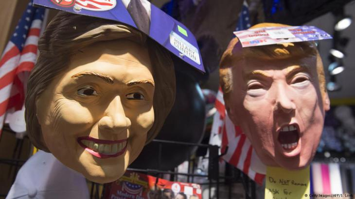 Hillary Clinton und Donald Trump als Puppen im US-Wahlkampf; Foto: Getty Images/AFP