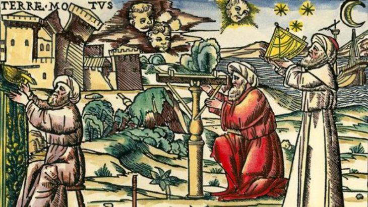 """Holzschnitt """"Arabische Astrologen mit Messgeräten, Venedig 1513; Foto: picture-alliance"""