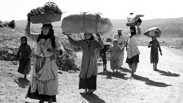 Flüchtende Palästinenser im Verlauf des ersten arabisch-israelischen Krieges; Foto: dpa/picture-alliance