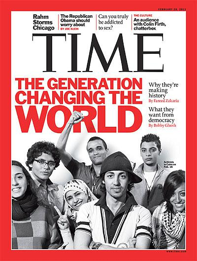 "Cover Time Magazine ""The generation changing the world"""