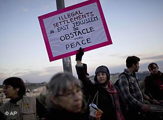 Demonstration gegen illegalen Siedlungsbau in Ostjerusalem; Foto: AP