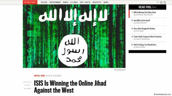 Screenshot thedailybeast.com zu ISIS Online Jihad
