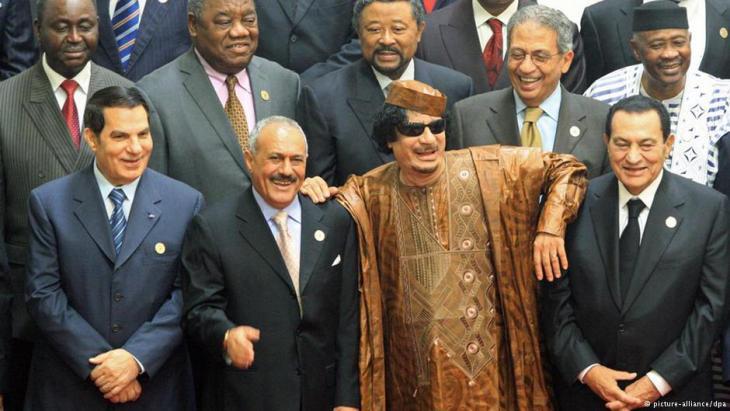 Arabische Diktatoren: Tunesiens Ben Ali, Ägyptens Mubarak, Jemens Saleh und Libyens Gaddafi; Foto: dpa/picture-alliance