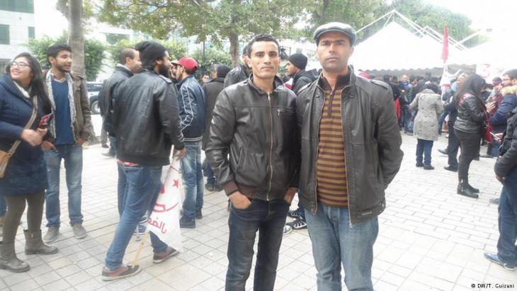 Proteste von Arbeitslosen in Tunis; Foto: DW