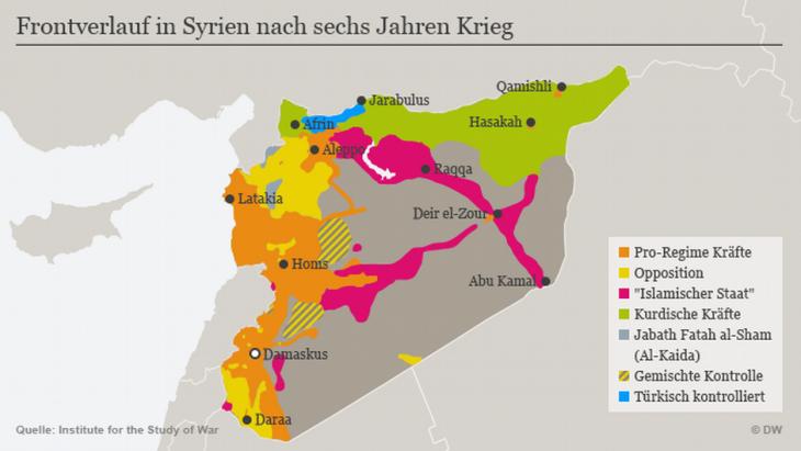 Infografik Akteure im Syrienkonflikt; Quelle: DW