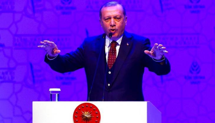 Der türkische Präsident Erdoğan während eines Wahlkampfauftritts in Ankara; Foto: Reuters