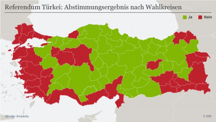 Infografik Referendums-Abstimmungsergebnisse nach Wahlkreisen; Quelle: DW
