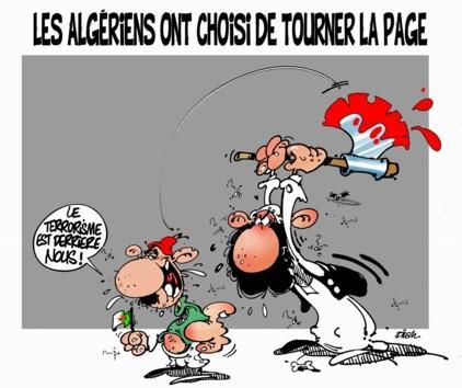 """Die Algerier haben sich entschieden, ein neues Kapitel aufzuschlagen: """"Wir haben den Terrorismus hinter uns!"""" - Karikatur von Dilem; Quelle: Liberté"""