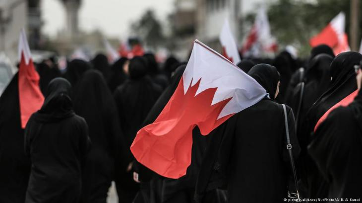 Shia demonstrators take to the streets in Bahrain to protest the death of Mustafa Hamdan